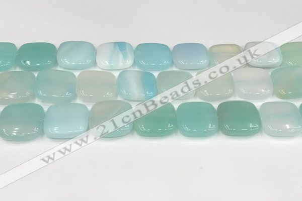 CAA4761 15.5 inches 18*18mm square banded agate beads wholesale