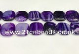 CAA4774 15.5 inches 25*25mm square banded agate beads wholesale