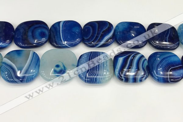 CAA4786 15.5 inches 30*30mm square banded agate beads wholesale