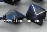 CAA499 15.5 inches 20*20mm pyramid agate druzy geode beads