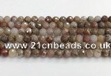 CAA5011 15.5 inches 8mm faceted round flower agate beads