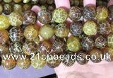 CAA5042 15.5 inches 16mm round yellow dragon veins agate beads