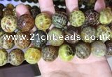 CAA5043 15.5 inches 18mm round yellow dragon veins agate beads