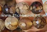 CAA5062 15.5 inches 6mm faceted round dragon veins agate beads