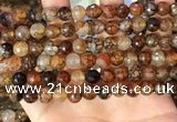 CAA5063 15.5 inches 8mm faceted round dragon veins agate beads