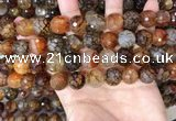 CAA5065 15.5 inches 12mm faceted round dragon veins agate beads