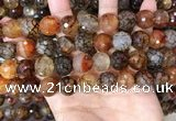 CAA5066 15.5 inches 14mm faceted round dragon veins agate beads