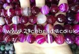 CAA5189 15.5 inches 14mm faceted round banded agate beads