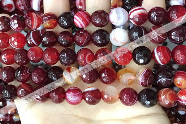 CAA5214 15.5 inches 8mm faceted round banded agate beads