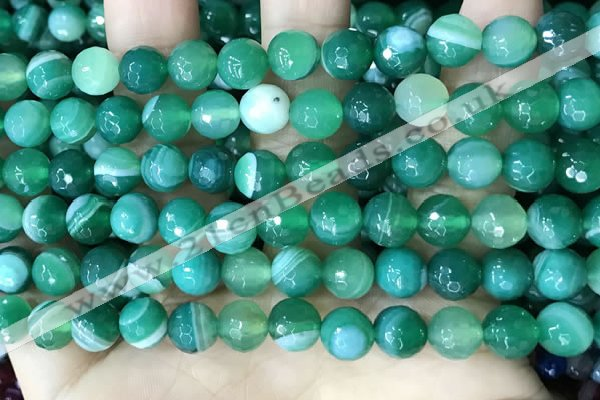 CAA5235 15.5 inches 8mm faceted round banded agate beads