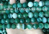 CAA5237 15.5 inches 12mm faceted round banded agate beads