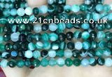 CAA5241 15.5 inches 6mm faceted round banded agate beads