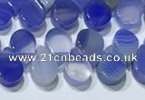 CAA5318 Top drilled 6*8mm flat teardrop line agate beads