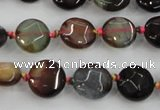 CAA560 15.5 inches 12mm faceted flat round dragon veins agate beads