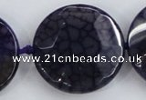 CAA569 15.5 inches 35mm faceted flat round dragon veins agate beads