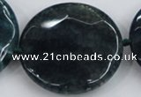 CAA575 15.5 inches 45mm faceted flat round dragon veins agate beads