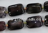 CAA589 15.5 inches 13*18mm faceted rectangle dragon veins agate beads
