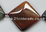 CAA594 15.5 inches 35*35mm faceted diamond dragon veins agate beads
