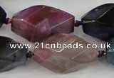 CAA619 15.5 inches 16*30mm faceted & twisted dragon veins agate beads