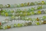 CAA707 15.5 inches 4mm faceted round fire crackle agate beads