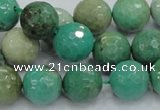 CAB10 15.5 inches 14mm faceted round green grass agate gemstone beads
