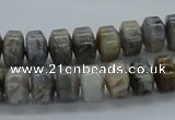 CAB140 15.5 inches 7*10mm roundel bamboo leaf agate beads