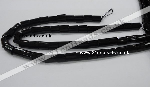 CAB334 15.5 inches 10*14mm faceted column black agate gemstone beads