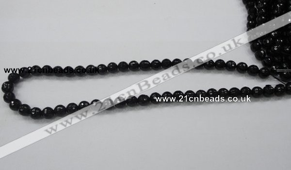 CAB343 15.5 inches 8mm faceted round black agate gemstone beads