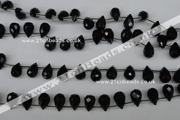 CAB348 15.5 inches 7*10mm faceted teardrop black agate gemstone beads