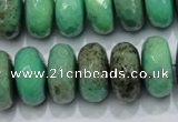 CAB45 15.5 inches 10*18mm faceted rondelle green grass agate beads