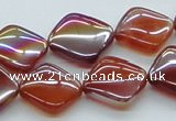CAB537 15.5 inches 15*15mm diamond AB-color red agate beads