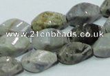 CAB569 15.5 inches 8*16mm twisted rice silver needle agate gemstone beads