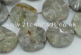 CAB571 15.5 inches 20mm wavy coin silver needle agate gemstone beads