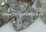 CAB580 15.5 inches 40*40mm wavy triangle silver needle agate beads