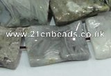 CAB582 15.5 inches 22*30mm wavy rectangle silver needle agate beads
