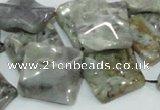 CAB583 15.5 inches 20*20mm wavy diamond silver needle agate beads