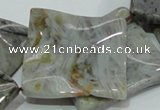 CAB585 15.5 inches 40*40mm wavy diamond silver needle agate beads