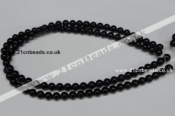 CAB724 15.5 inches 8mm round black agate gemstone beads wholesale