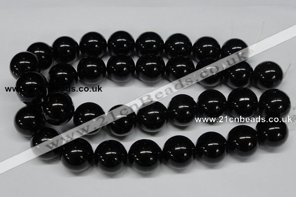 CAB731 15.5 inches 22mm round black agate gemstone beads wholesale
