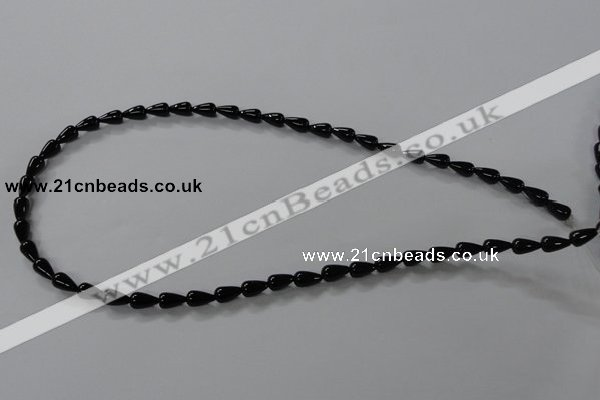 CAB732 15.5 inches 5*8mm teardrop black agate gemstone beads