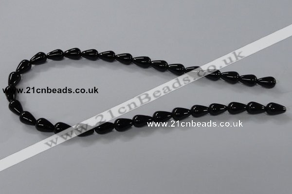 CAB735 15.5 inches 8*12mm teardrop black agate gemstone beads