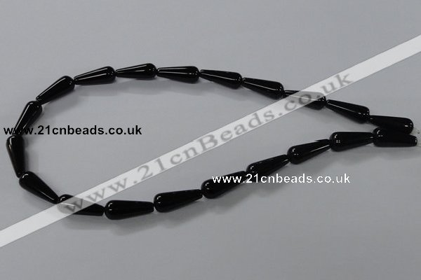 CAB737 15.5 inches 8*20mm teardrop black agate gemstone beads