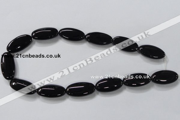 CAB763 15.5 inches 15*30mm oval black agate gemstone beads wholesale