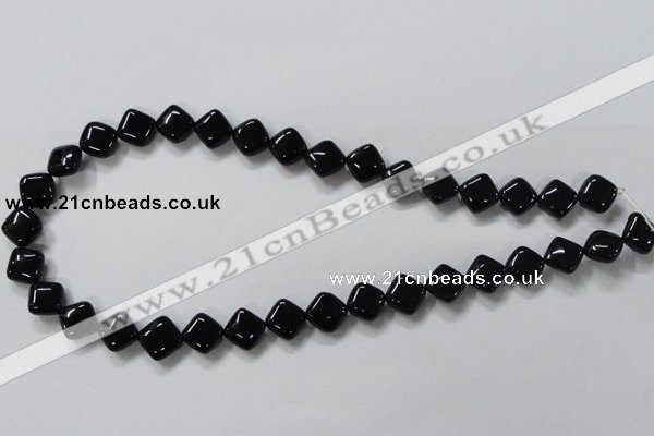 CAB765 15.5 inches 10*10mm diamond black agate gemstone beads