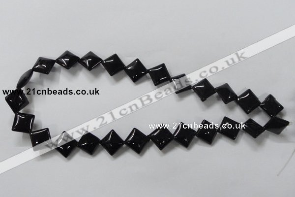 CAB766 15.5 inches 12*12mm diamond black agate gemstone beads