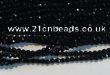 CAB780 15.5 inches 2mm faceted round black agate gemstone beads