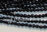 CAB781 15.5 inches 3mm faceted round black agate gemstone beads