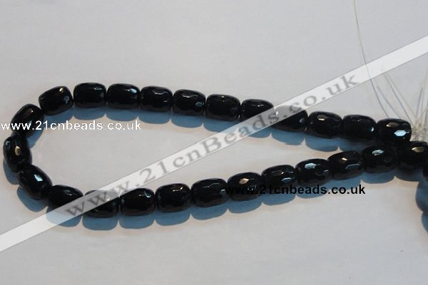 CAB788 15.5 inches 13*16mm faceted egg black agate gemstone beads