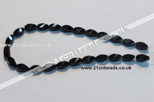 CAB796 15.5 inches 8*16mm faceted & twisted rice black agate beads