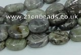 CAB80 15.5 inches 10*14mm oval silver needle agate gemstone beads